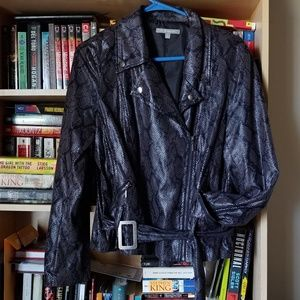 Snakeskin pattern faux leather moto jacket